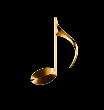 golden musical note on a black background