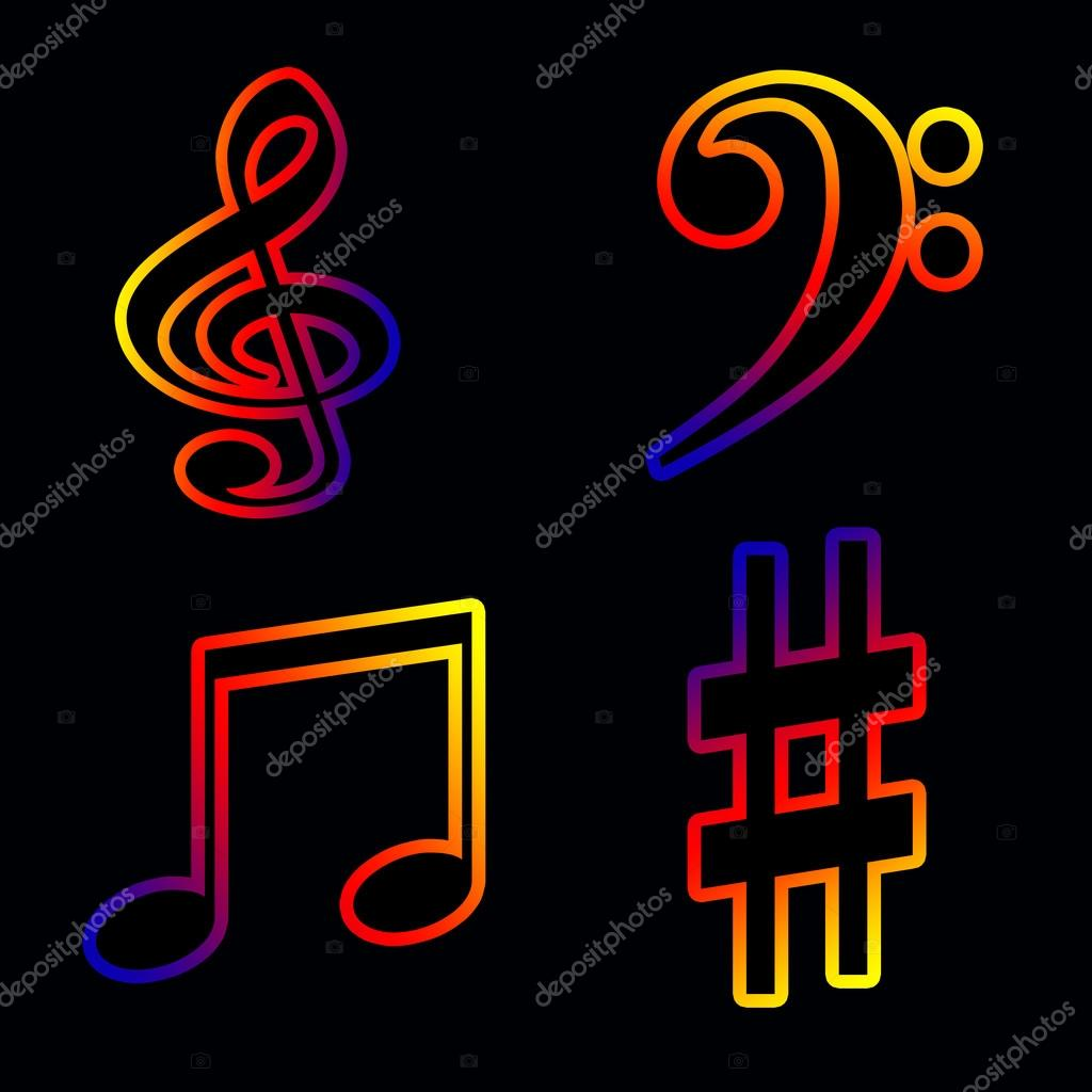 neon musical notes and keys on a black background � stock