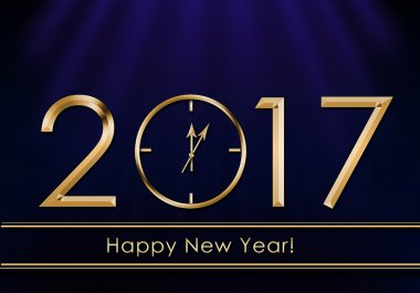 Happy New Year 2017. New Year Clock