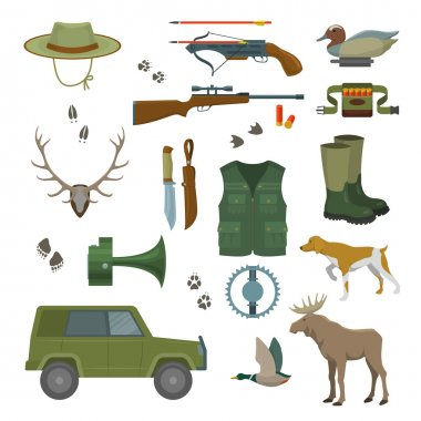 Hunter set isolated vector illustration