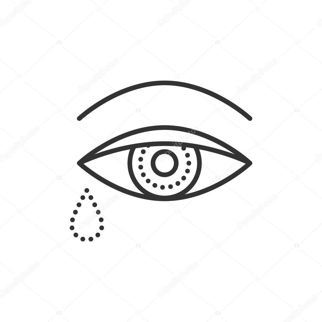 Weinenden Auge mit Tränen. Flach-Symbol. Gliederung der Vektorgrafik ...