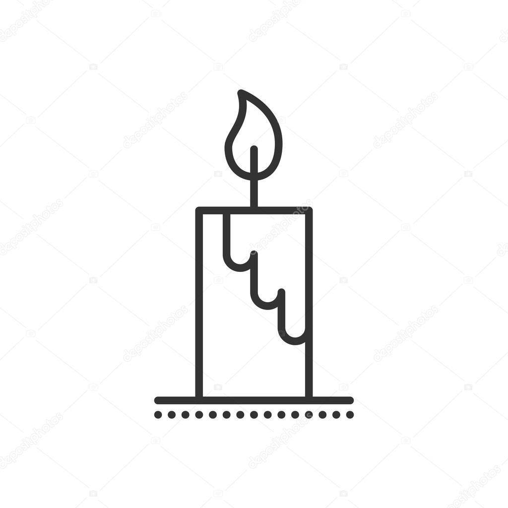 Vektor Kerze flach Icon. Symbol der Flamme und Licht — Stockvektor ...