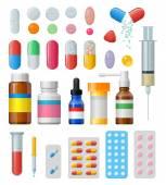 Set di vettore pillole e capsule