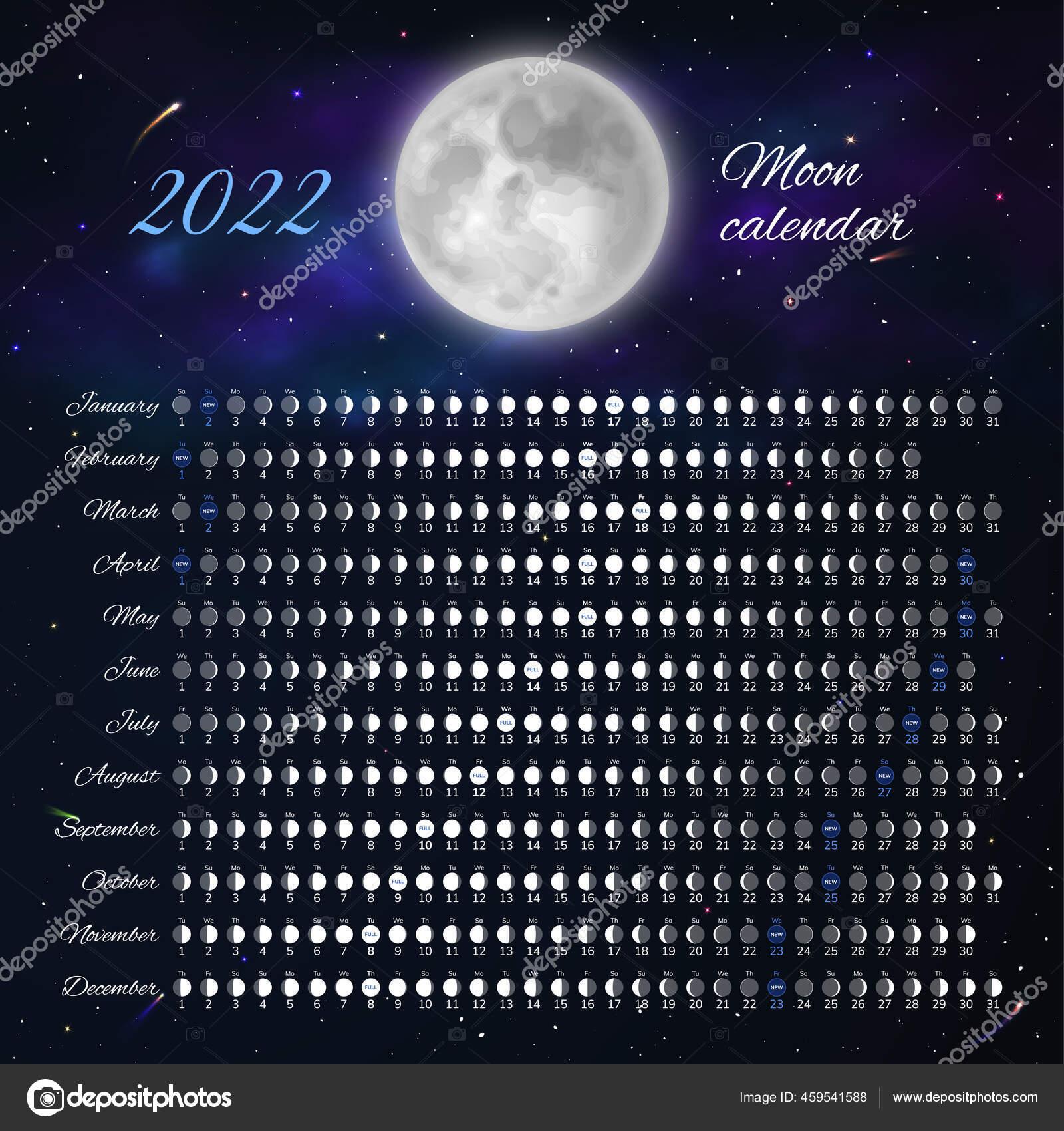 Celestial Calendar 2022.Moon Phase Cycle Astrological Calendar Card Design Vector Image By C Nastya Mal Vector Stock 459541588