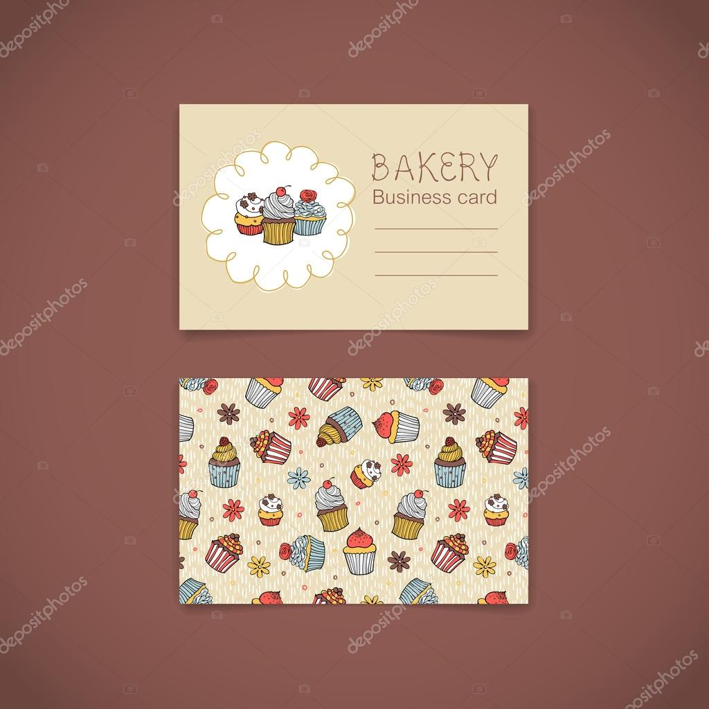 Bakery Business Card with Cupcakes — Stock Vector © nastya-mal ...