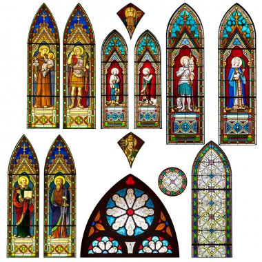 stained glass church window in thailand