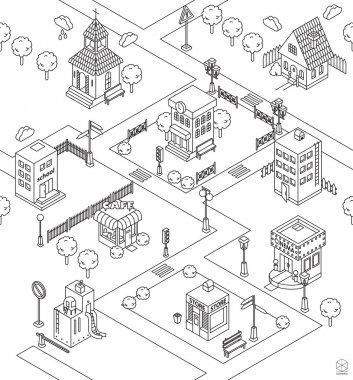 Seamless pattern with Isometric city