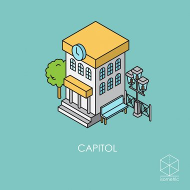Isometric vector icon city hall