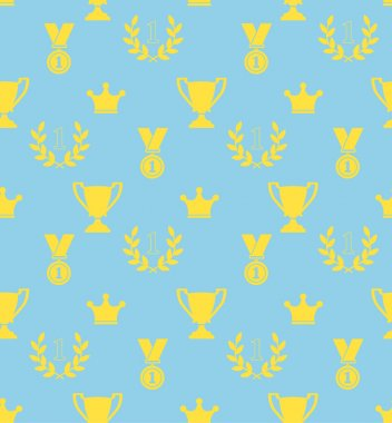 Seamless pattern of the prize cups, laurel wreaths, medals, crowns on a blue background
