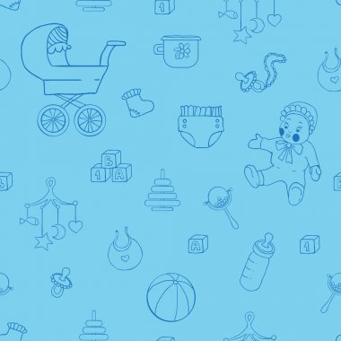 Baby clothes and toys hand drawn seamless pattern