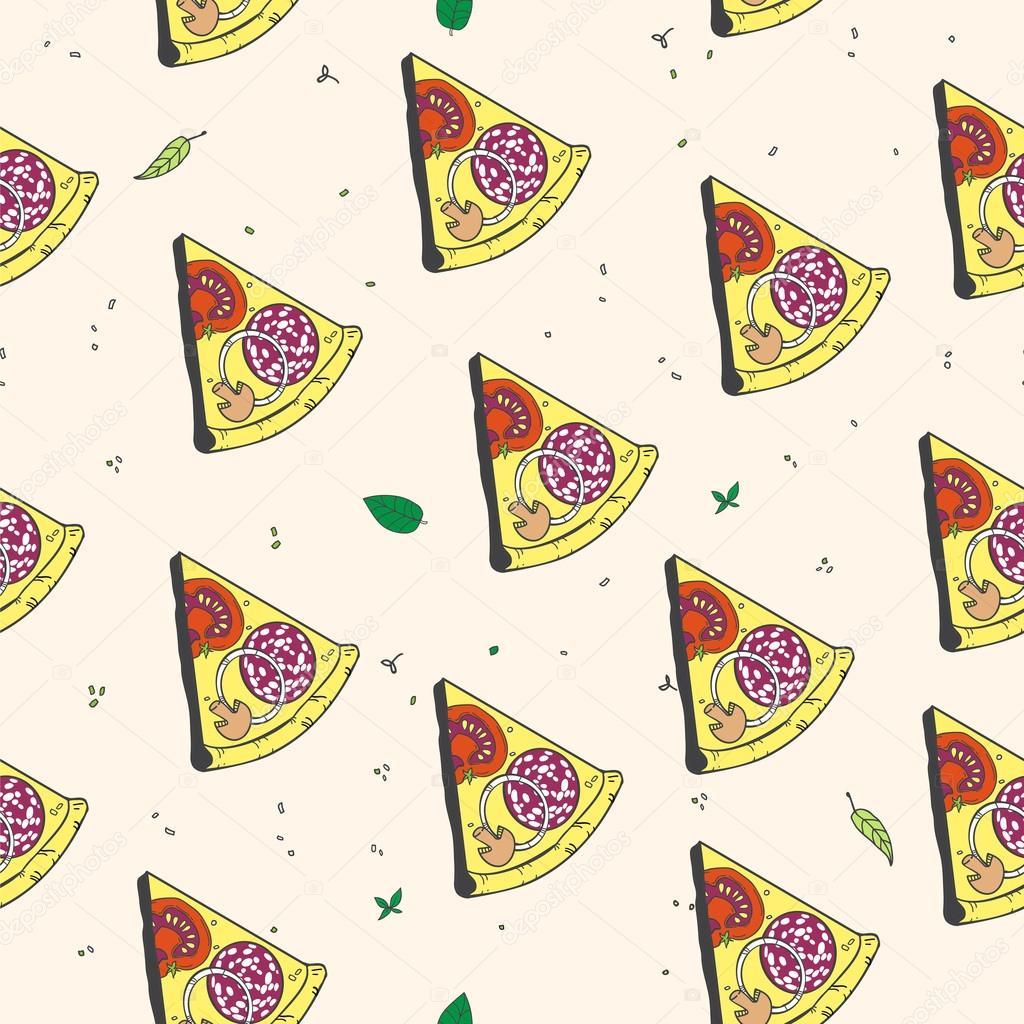 Vektor, nahtlose Muster mit Pizza kochen. Entwerfen Sie ein Menü ...
