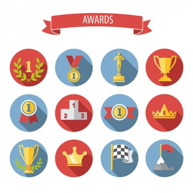 set of white vector award success and victory flat icons