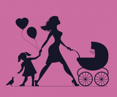 Mom with daughter and baby in baby carriage. Little girl feeds birds. Mother of many children. Beautiful fashionable mother. Vector silhouette