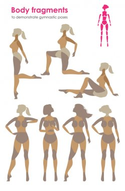 Fragments of body for demonstrating gymnastic poses.Vector silhouette of a woman who practices