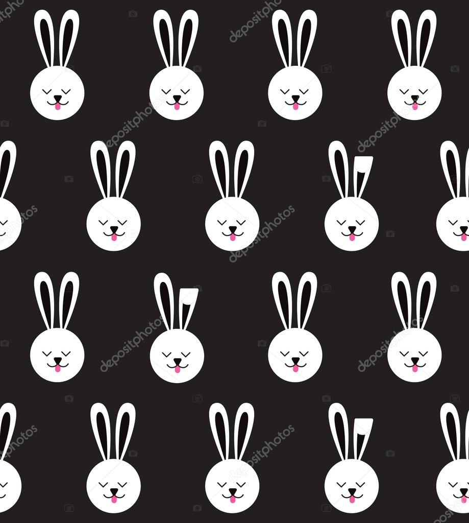 Seamless pattern with bunny on black background. Rabbit pattern