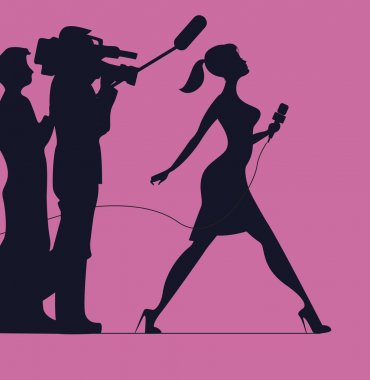 Silhouette of women with microphone. Profession: TV reporter