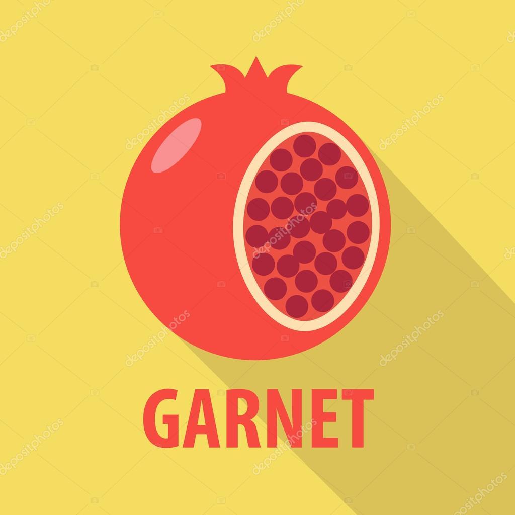 Garnet icon in flat design with long shadows