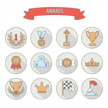 set of white vector award success and victory flat icons on colo