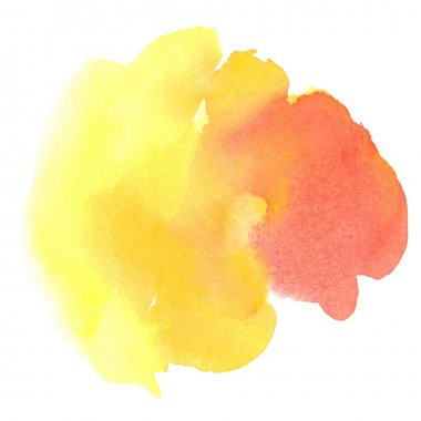 Colorful red-yellow watercolor stain with aquarelle paint blotch clip art vector