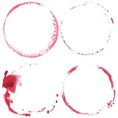Wine stain circles in red tones clip art vector