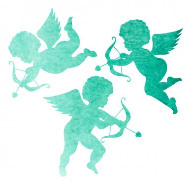 Watercolor blue  silhouettes of  angels. Watercolor painting on white background clip art vector