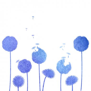 Watercolor blue dandelions