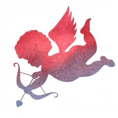 watercolor silhouette of an angel.watercolor painting on white b