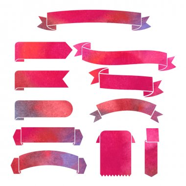 Watercolor ribbons banners