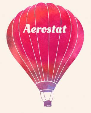 Watercolor vintage hot air balloon.Celebration festive background with balloons.Perfect for invitations,posters and cards clip art vector