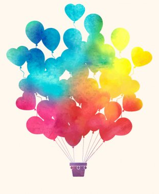 Watercolor vintage hot air balloon.Celebration festive backgroun