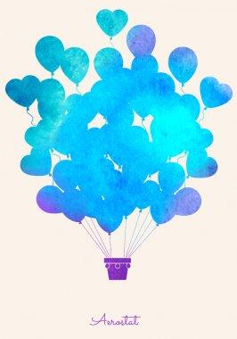 Watercolor vintage hot air balloon.Celebration festive backgroun