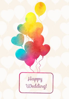Watercolor ballons card with seamless pattern from balloons