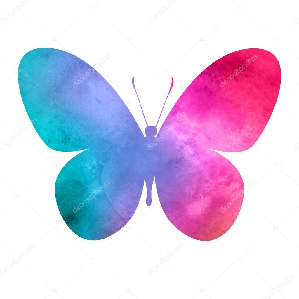 Colorful Pink Red Watercolor Butterfly Stock Vector C Ty4ina