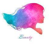 silueta hlavy s akvarel hair.vector ilustrace žena kosmetický salon