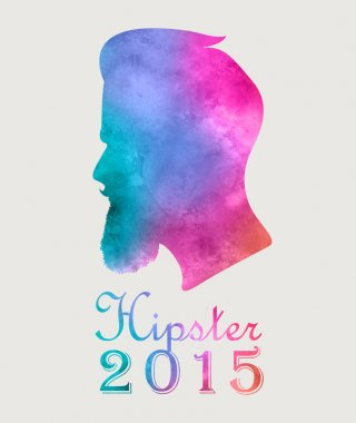 Retro colorful watercolor label badge or logo Hipster 2015 with beard. T-Shirt Print