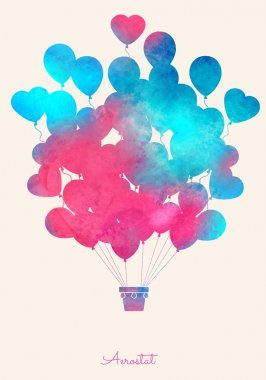 WaWatercolor vintage hot air balloon.Celebration festive background with balloons.Perfect for invitations,posters and cards