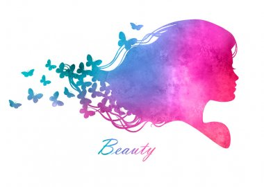 Silhouette head with watercolor hair.Vector illustration of woman beauty salon stock vector