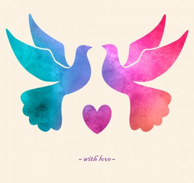 Watercolor colorful  bird. Watercolor painting.Two pigeons love silhouettes