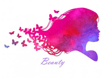 Silhouette head with watercolor hair.Vector illustration of woman beauty salon clip art vector