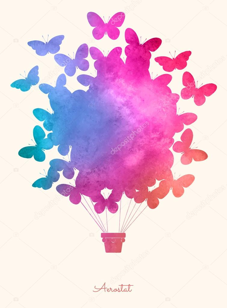 Watercolor vintage butterfly hot air balloon.Celebration festive background with balloons.Perfect for invitations,posters and cards