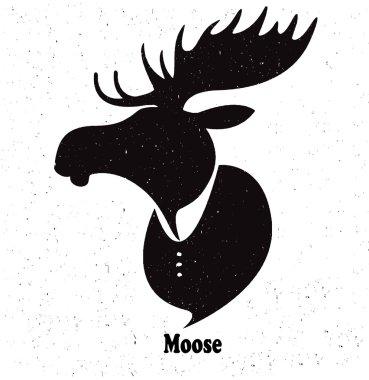Moose head.Watercolor silhouette