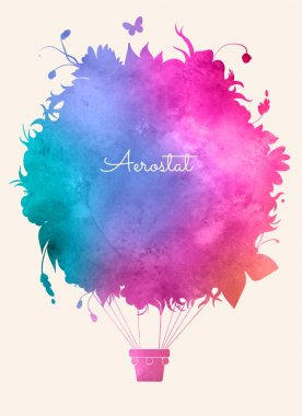 Watercolor vintage hot air balloon.Celebration festive background.Perfect for invitations,posters and cards stock vector