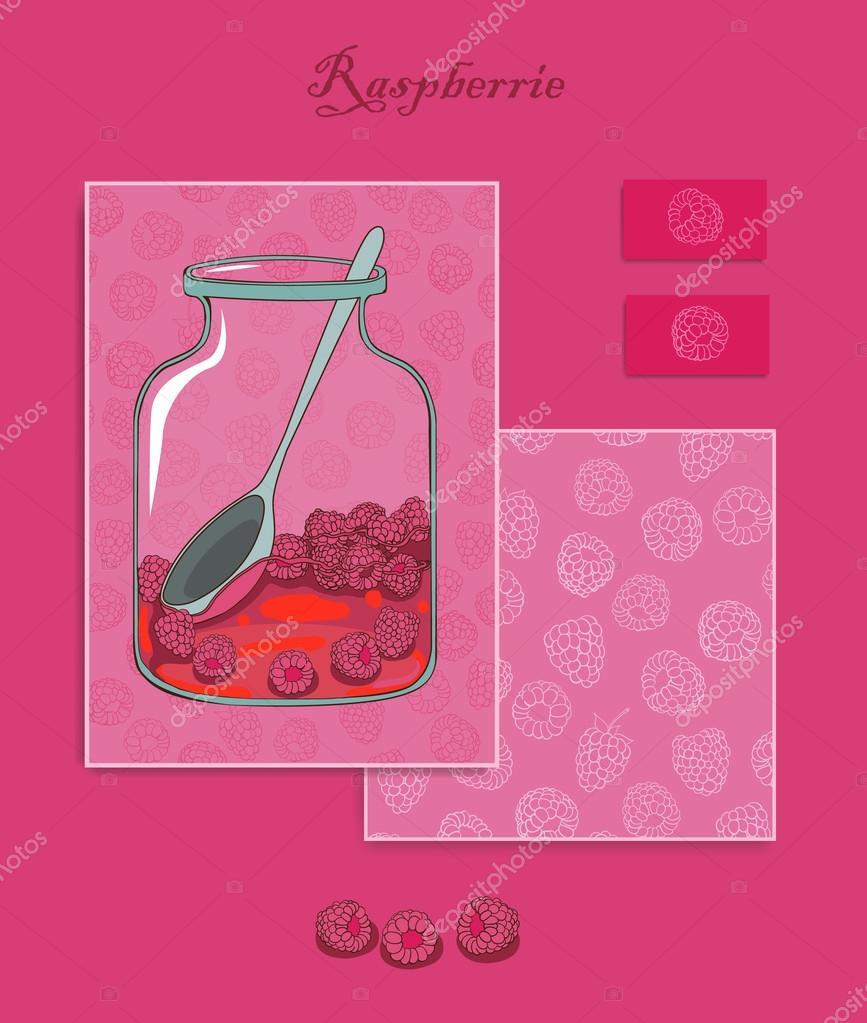 Greeting Card Raspberry Branding Design Raspberry Design Set Cards