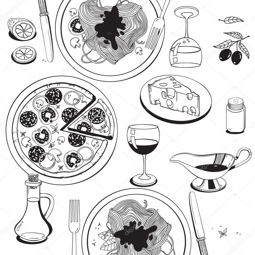 Mano gli oggetti disegnati sul tema alimentare italiana: pizza ...