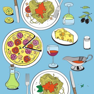 Hand drawn objects on italian food theme: pizza, pasta, tomato, olive oil, olives, cheese, lemon, sauce. Ethnic cuisine concept. Italian cuisine hand drawn objects.Vector food illustration for kitchen and cafe
