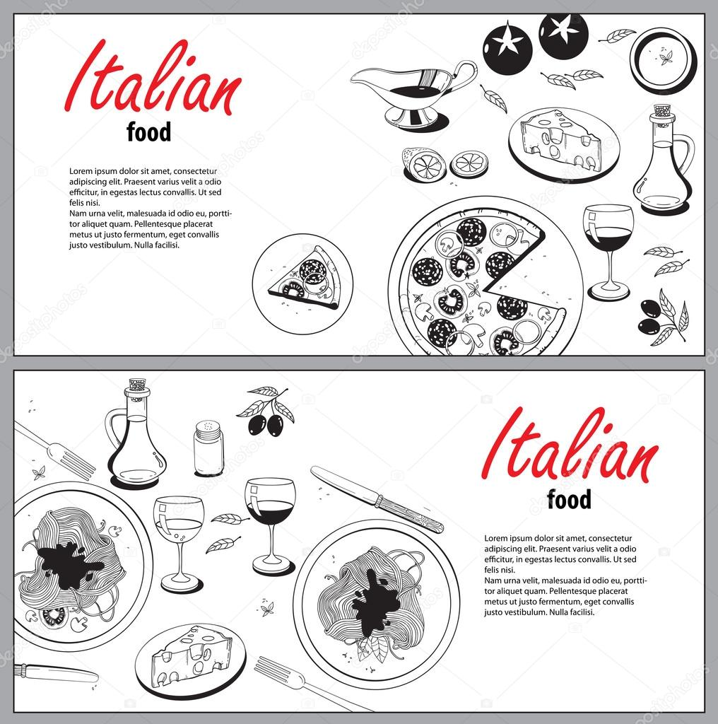 Vector Cooking Banner Template With Hand Drawn Objects On Italia Stock Vector C Ty4ina 82730574