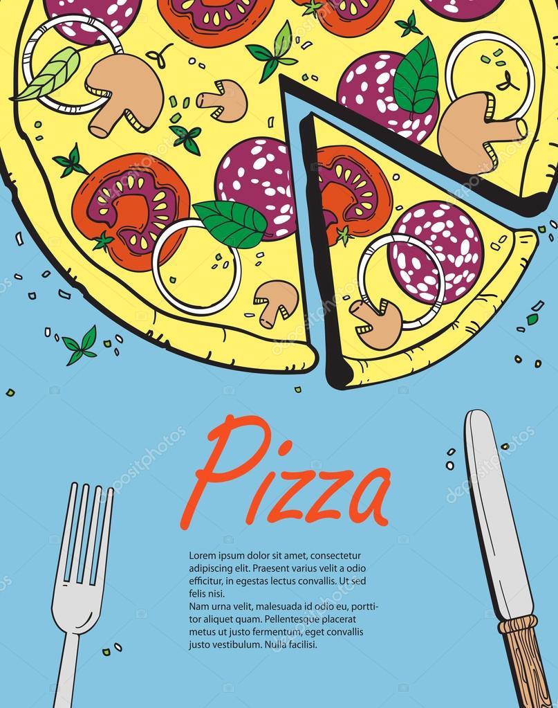 Vektor-Banner Vorlage mit Pizza kochen. Entwerfen Sie ein Menü ...