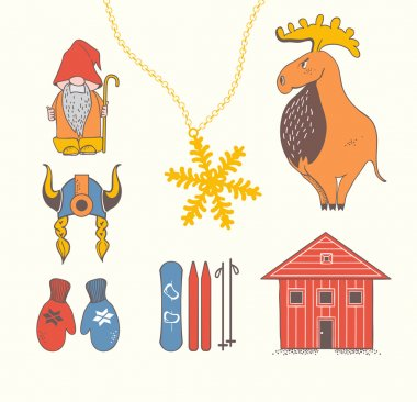 Cute stylish scandinavian set with moose, gnome, snowflake, skiing, snowboard, viking helmet, wooden house, mittens