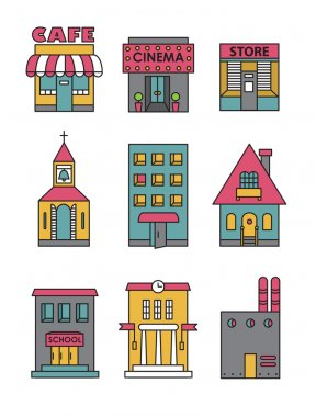 Set of vector flat black and white icons of buildings.Cafe, cinema, store, church, apartment house,cottage,school, Hall, factory