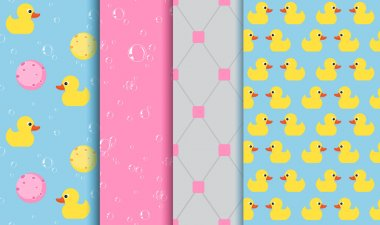Set of seamless patterns on the subject of bathing , shower , bathtub. Yellow Duckling, lather, bubbles, sponge